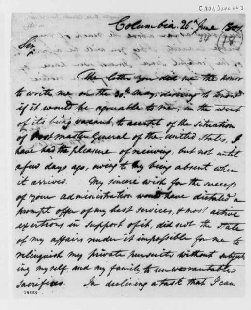Wade Hampton to Thomas Jefferson, June 26, 1801
