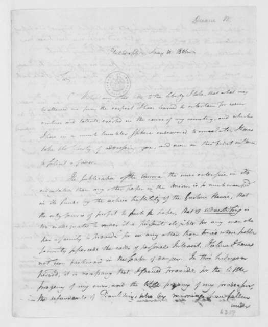 William Duane to James Madison, May 10, 1801.