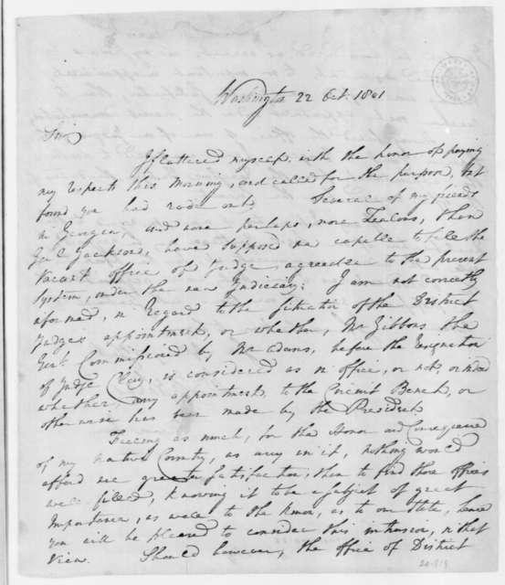 William Stephens to James Madison, October 22, 1801.