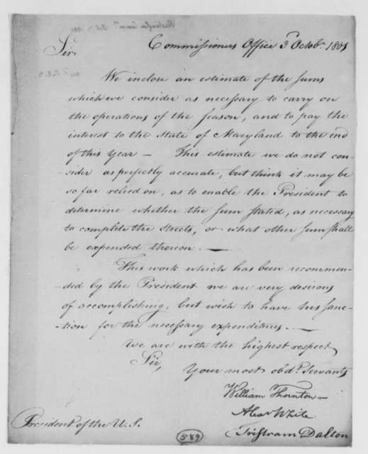 William Thornton, Alexander White, and Tristam Dalton, Commissioners to Thomas Jefferson, October 3, 1801