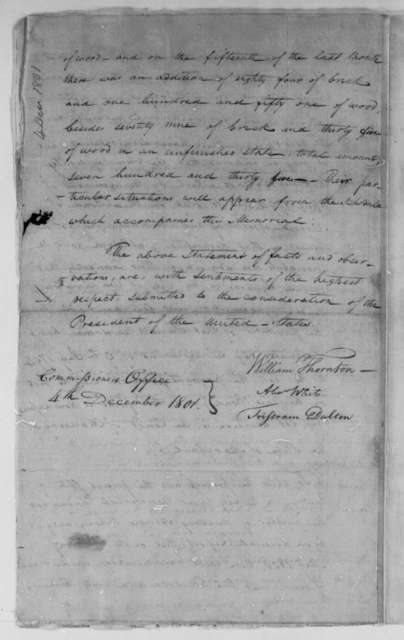 William Thornton, Alexander White, and Tristam Dalton, Commissioners to Thomas Jefferson, December 4, 1801