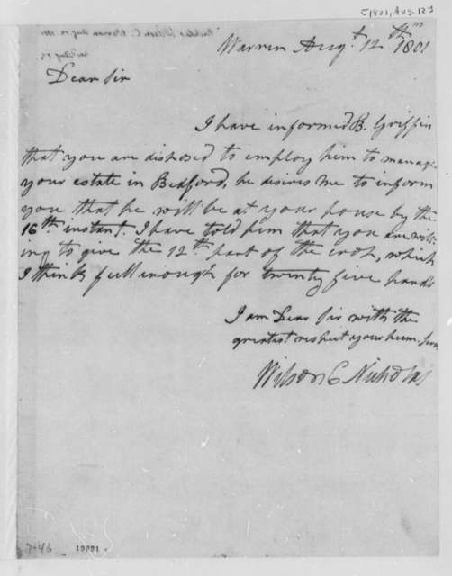 Wilson Cary Nicholas to Thomas Jefferson, August 12, 1801