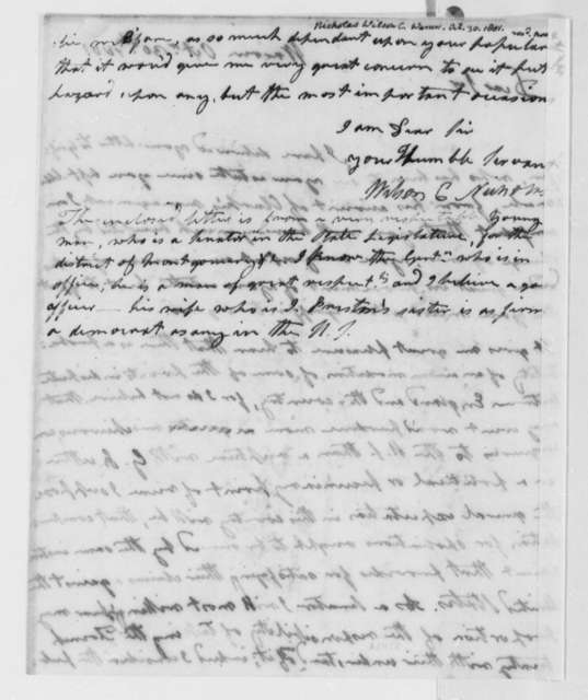 Wilson Cary Nicholas to Thomas Jefferson, October 30, 1801