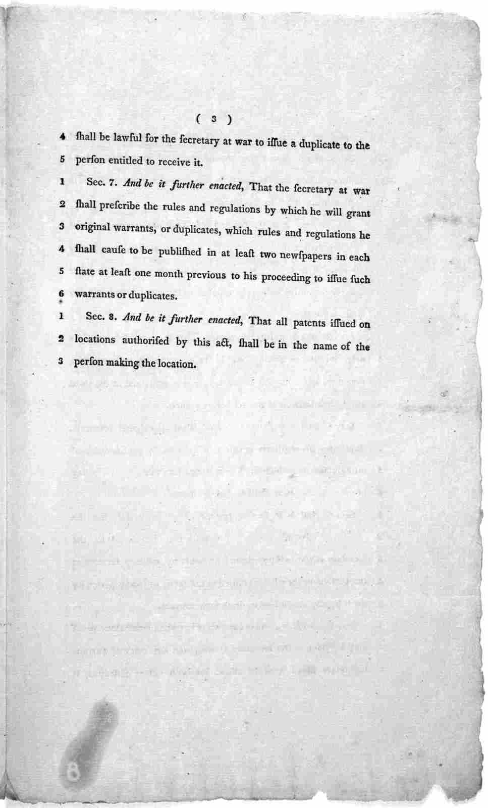 """11th February, 1802.  Read the first and second time, and committed to a Committee of the whole House on Monday next.  A bill, in addition to an act, intituled, """"An act in addition to an act regulating the grants of land appropriated for militar"""