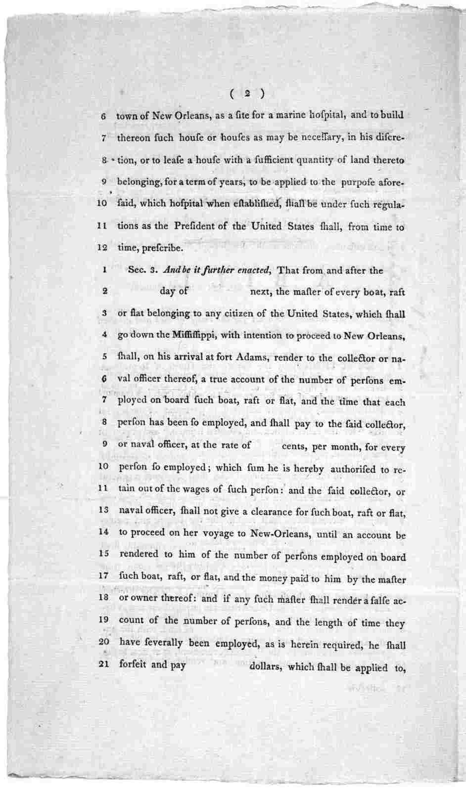 """6th April, 1802. Read the first and second time, and committed to a committee of the whole House, on Thursday next. A bill, to amend an act, intitled, """"An act for the relief of sich and disabled seamen;"""" and for other purposes ... [Washington] D"""