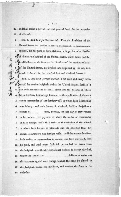 "6th April, 1802. Read the first and second time, and committed to a committee of the whole House, on Thursday next. A bill, to amend an act, intitled, ""An act for the relief of sich and disabled seamen;"" and for other purposes ... [Washington] D"