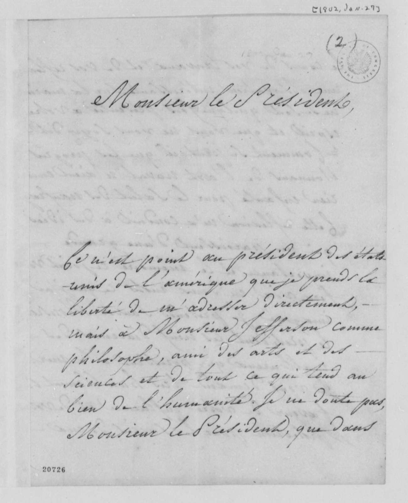 A. du Buc Marentille to Thomas Jefferson, January 27, 1802, in French