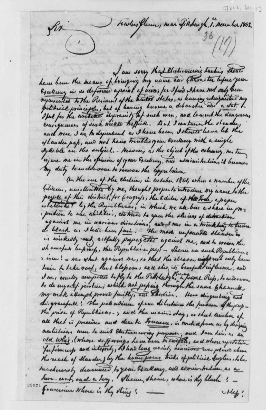 A. Fowler to Thomas Jefferson, December 1, 1802