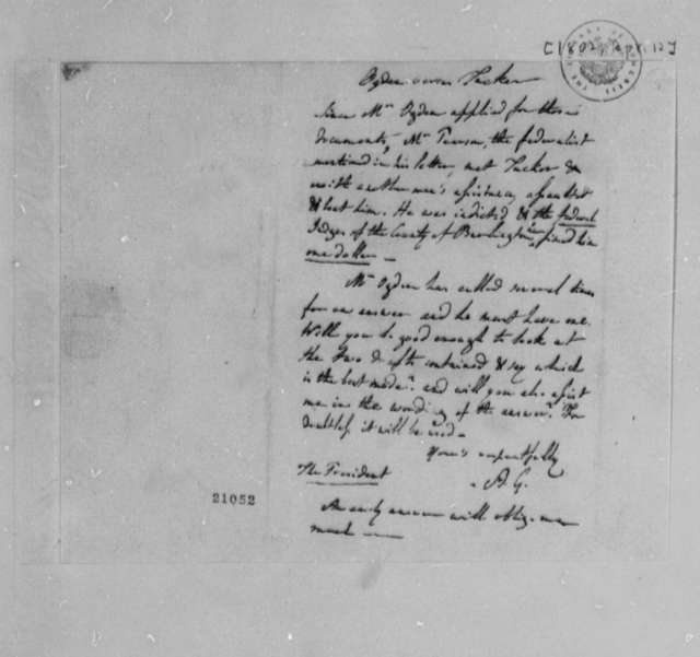 Albert Gallatin, April 12, 1802, Drafts on the Ogden Affair
