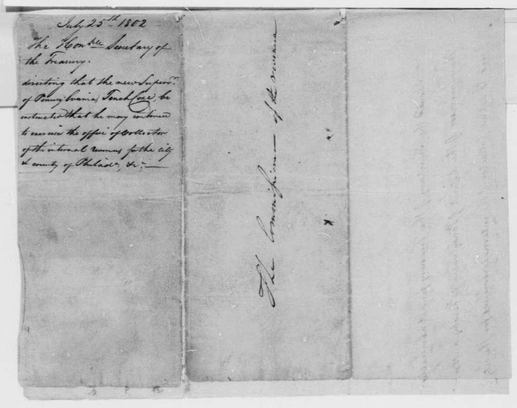 Albert Gallatin to Tench Coxe, July 25, 1802, Note