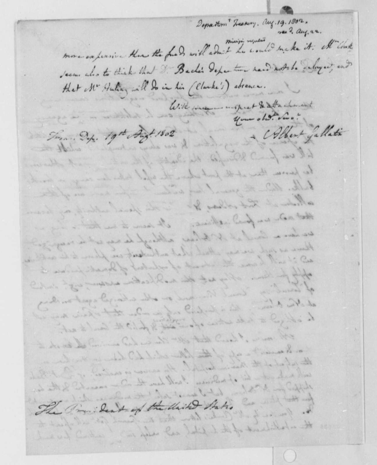 Albert Gallatin to Thomas Jefferson, August 19, 1802