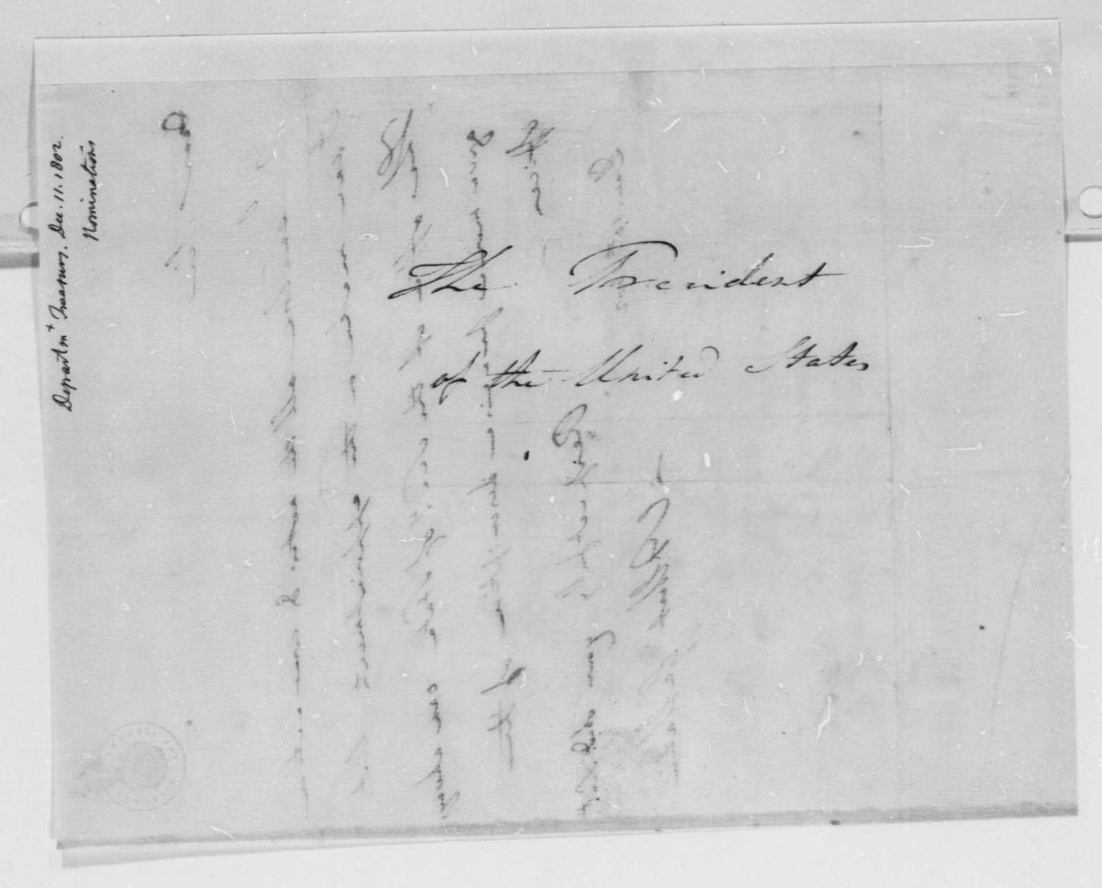 Albert Gallatin to Thomas Jefferson, December 10, 1802, with Notes and List