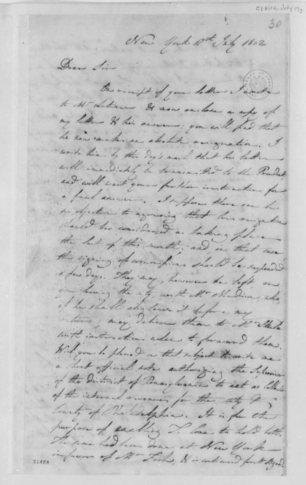 Albert Gallatin to Thomas Jefferson, July 17, 1802