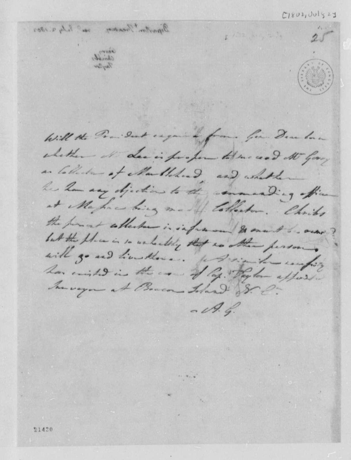 Albert Gallatin to Thomas Jefferson, July 2, 1802