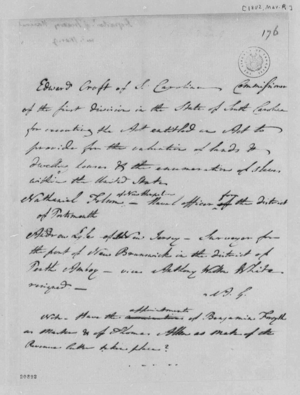 Albert Gallatin to Thomas Jefferson, March 9, 1802, Nominations