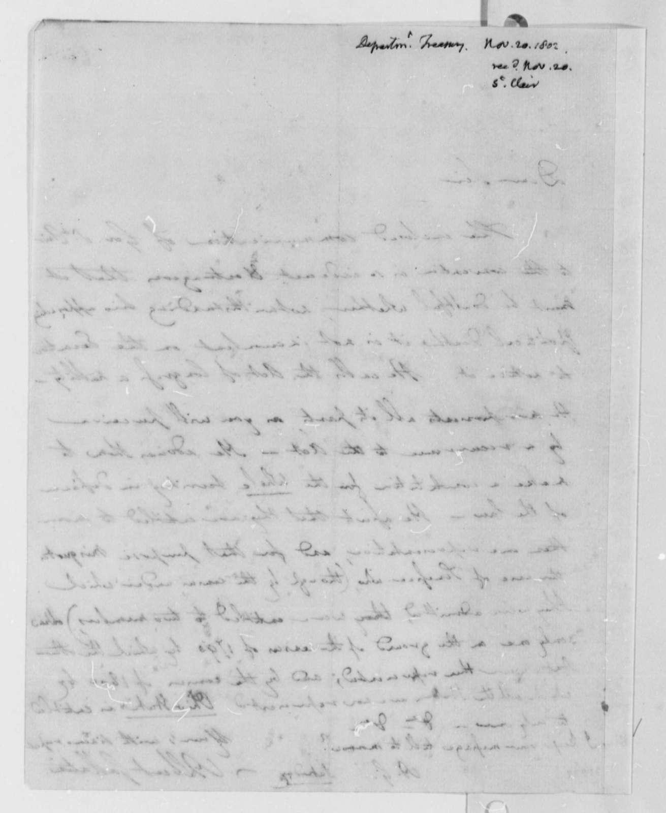Albert Gallatin to Thomas Jefferson, November 20, 1802