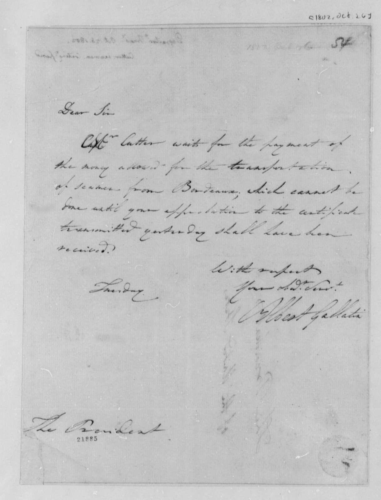 Albert Gallatin to Thomas Jefferson, October 26, 1802