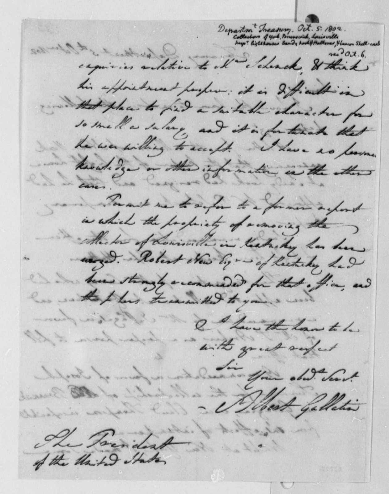 Albert Gallatin to Thomas Jefferson, October 5, 1802