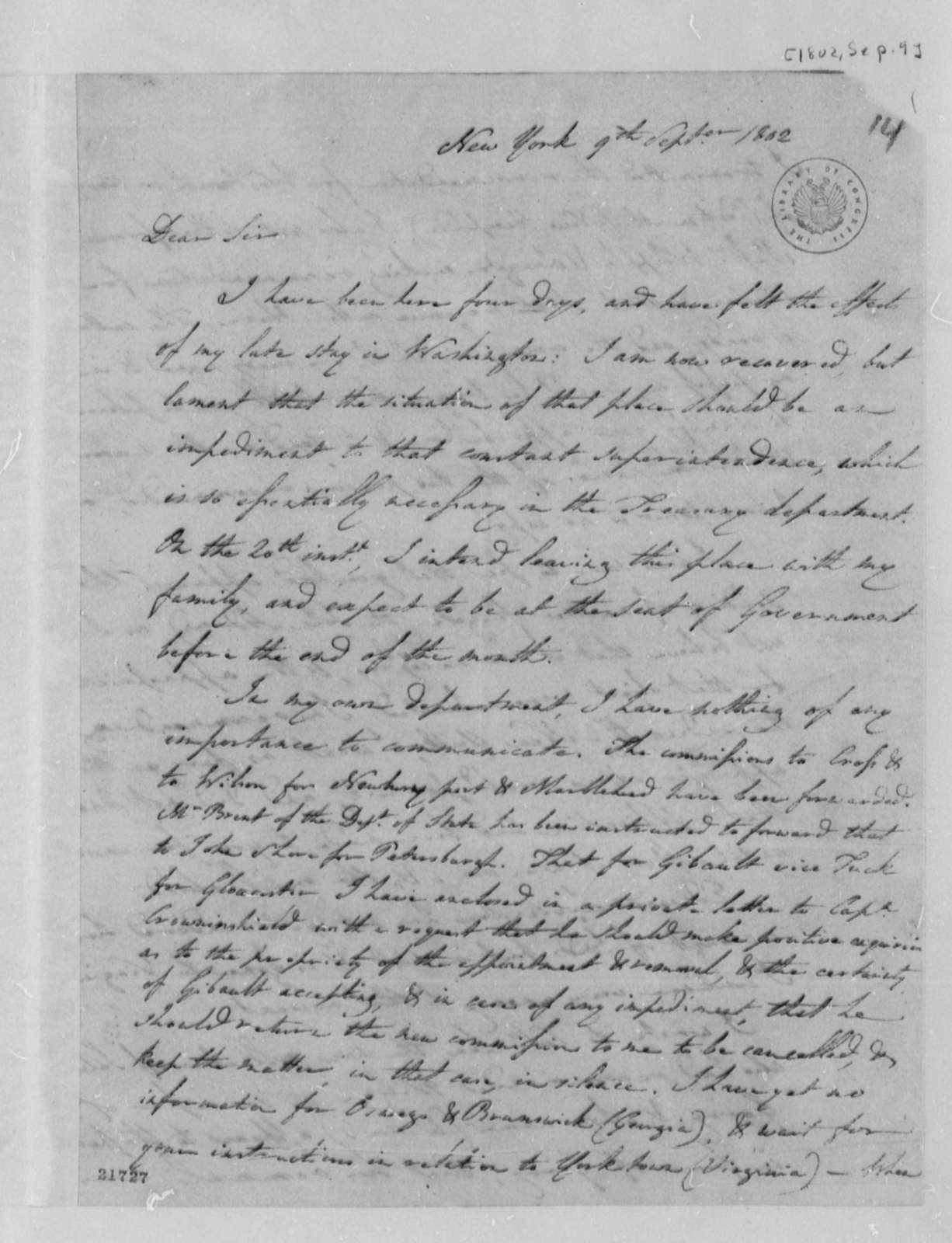Albert Gallatin to Thomas Jefferson, September 9, 1802