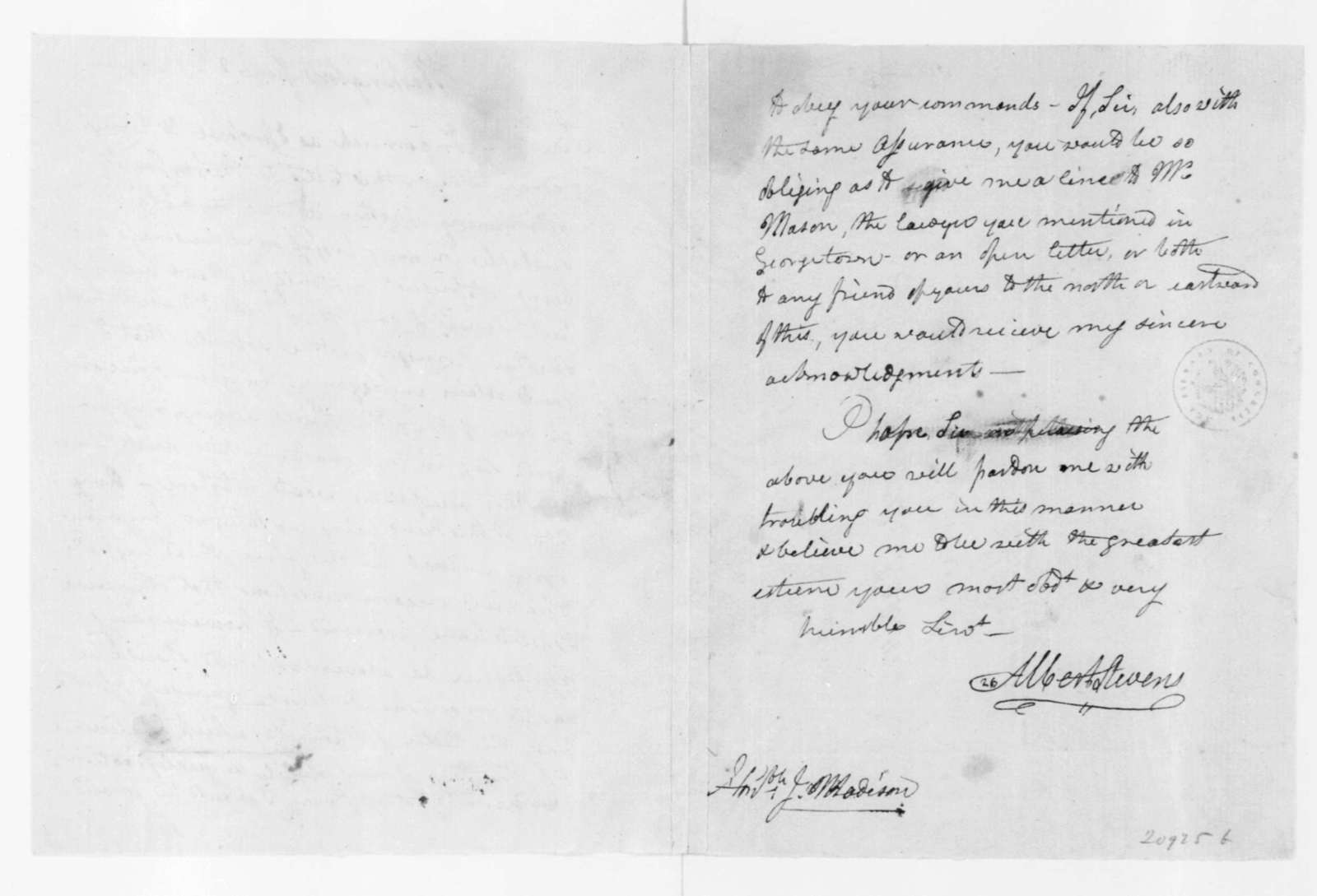 Albert Stevens to James Madison, June 8, 1802.