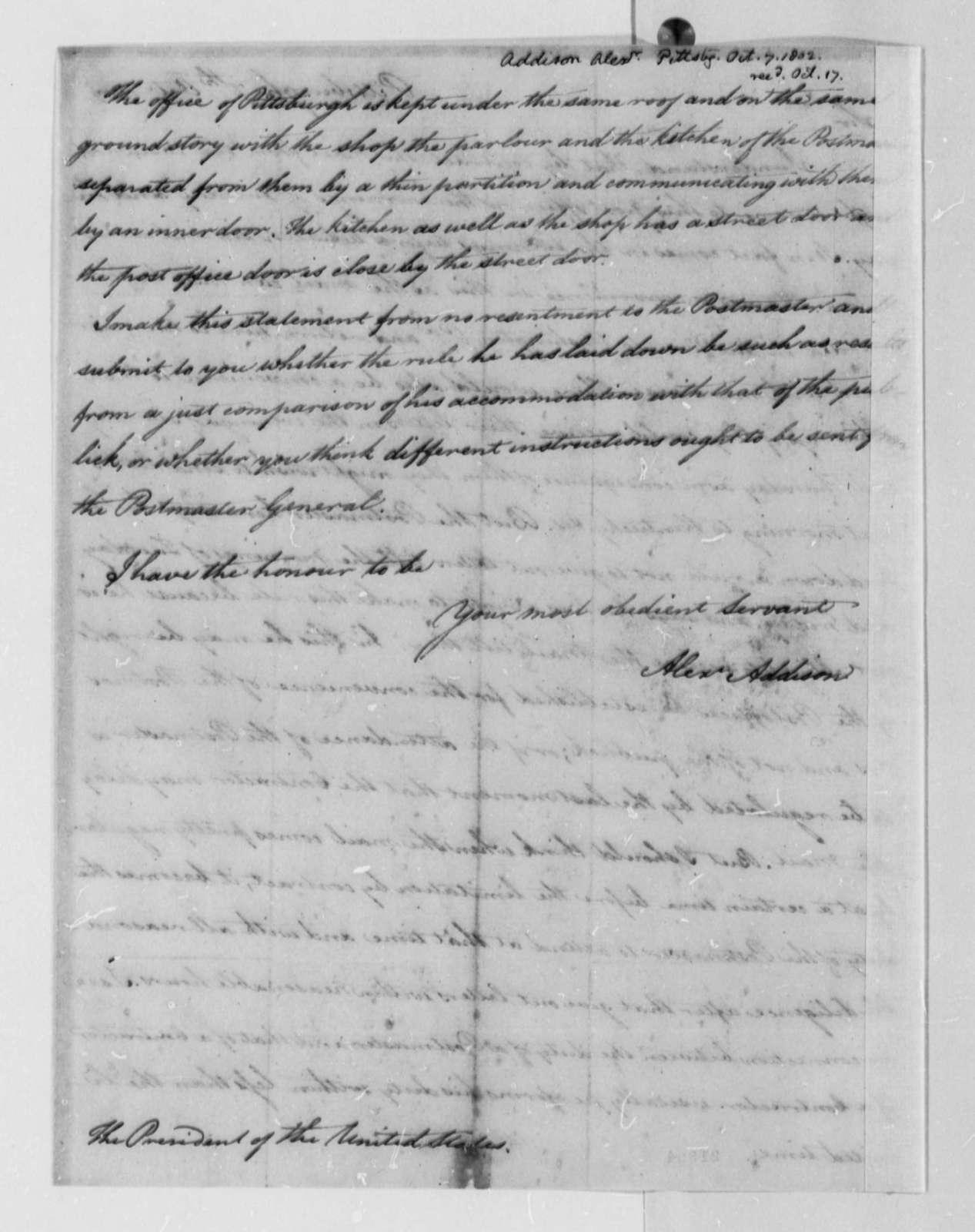 Alexander Addison to Thomas Jefferson, October 7, 1802