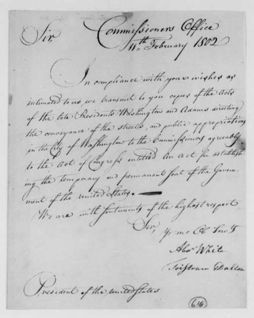 Alexander White and Tristam Dalton, Commissioners to Thomas Jefferson, February 11, 1802