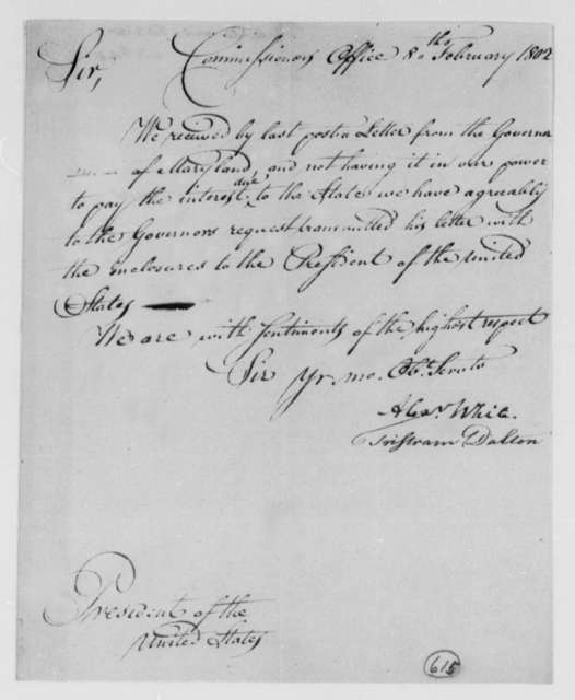 Alexander White and Tristam Dalton, Commissioners to Thomas Jefferson, January 22, 1802
