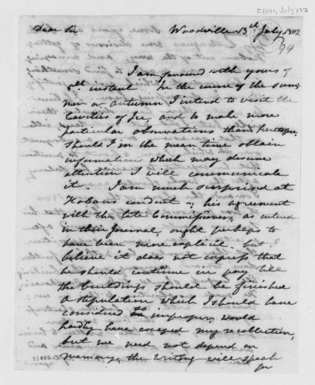 Alexander White to Thomas Jefferson, July 13, 1802