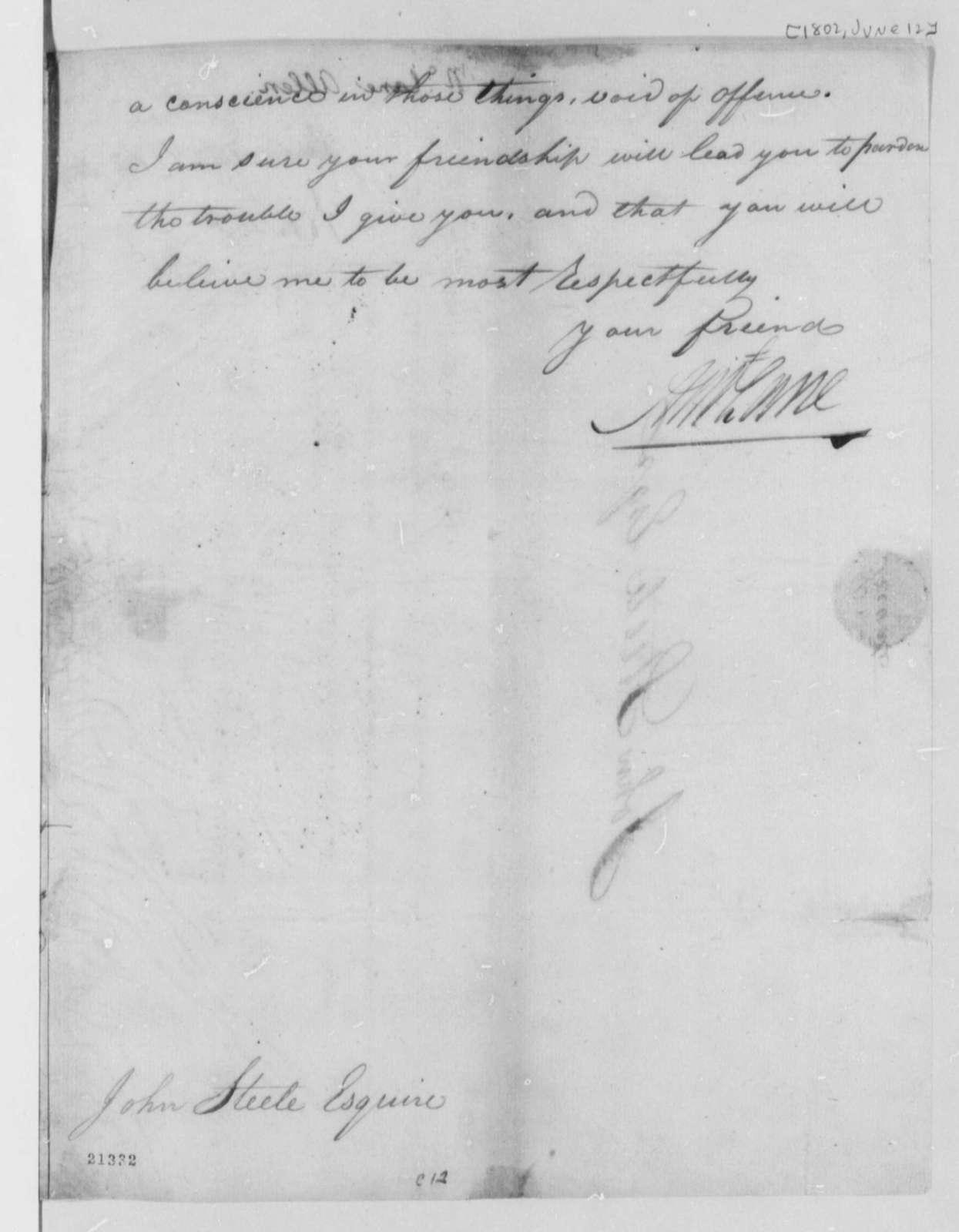 Allen McLane to John Steele, June 12, 1802