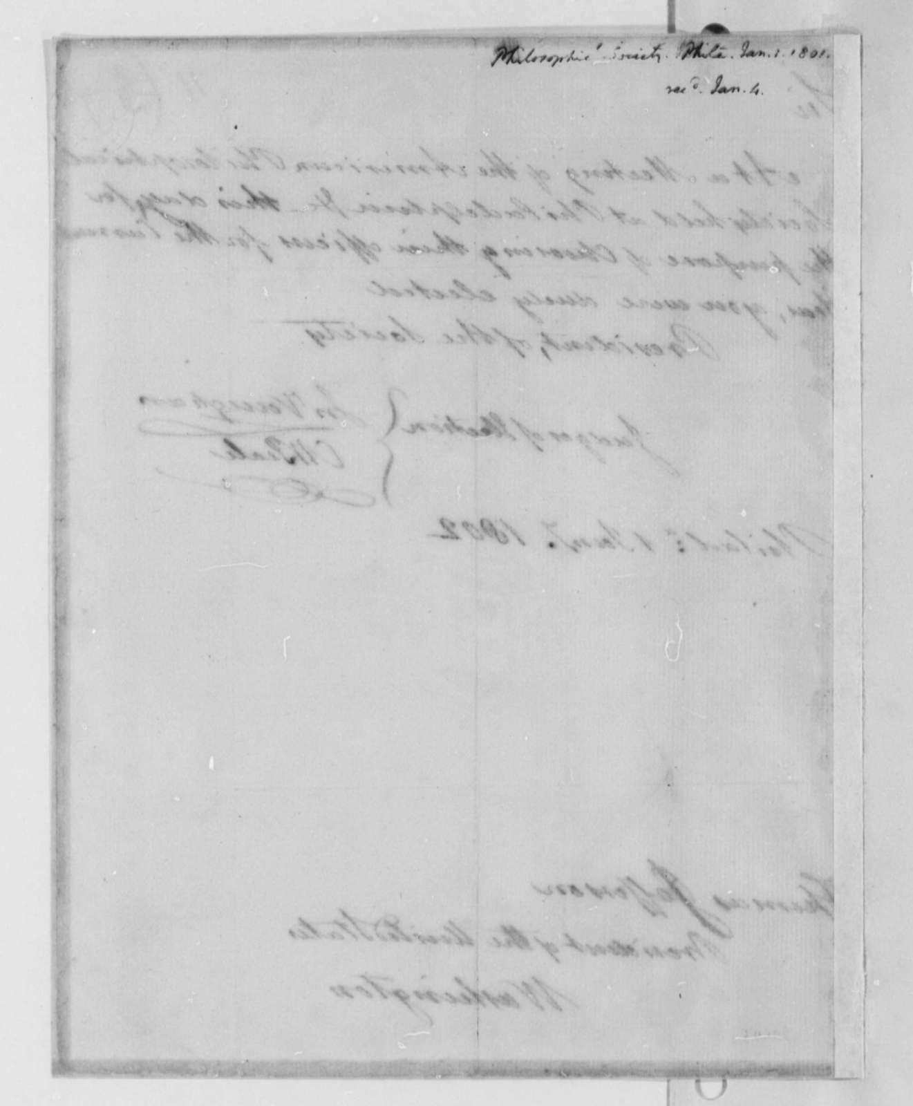 American Philosophical Society to Thomas Jefferson, January 1, 1802, Notice