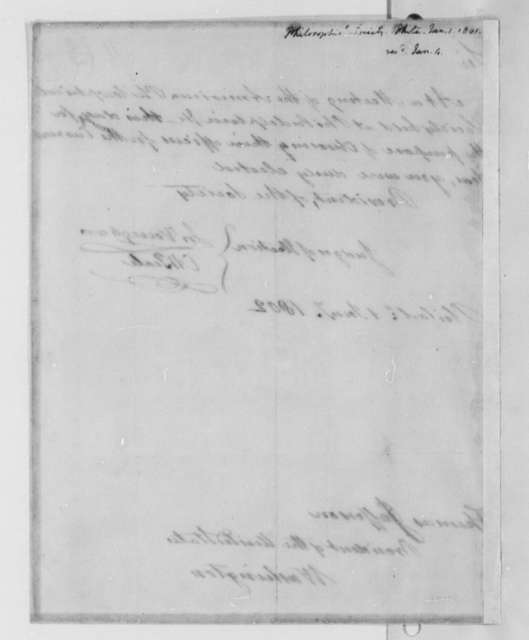 American Philosophical Society to Thomas Jefferson, January 1, 1802, Notice