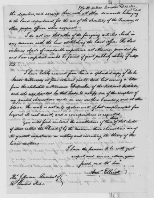 Andrew Ellicott to Thomas Jefferson, February 14, 1802