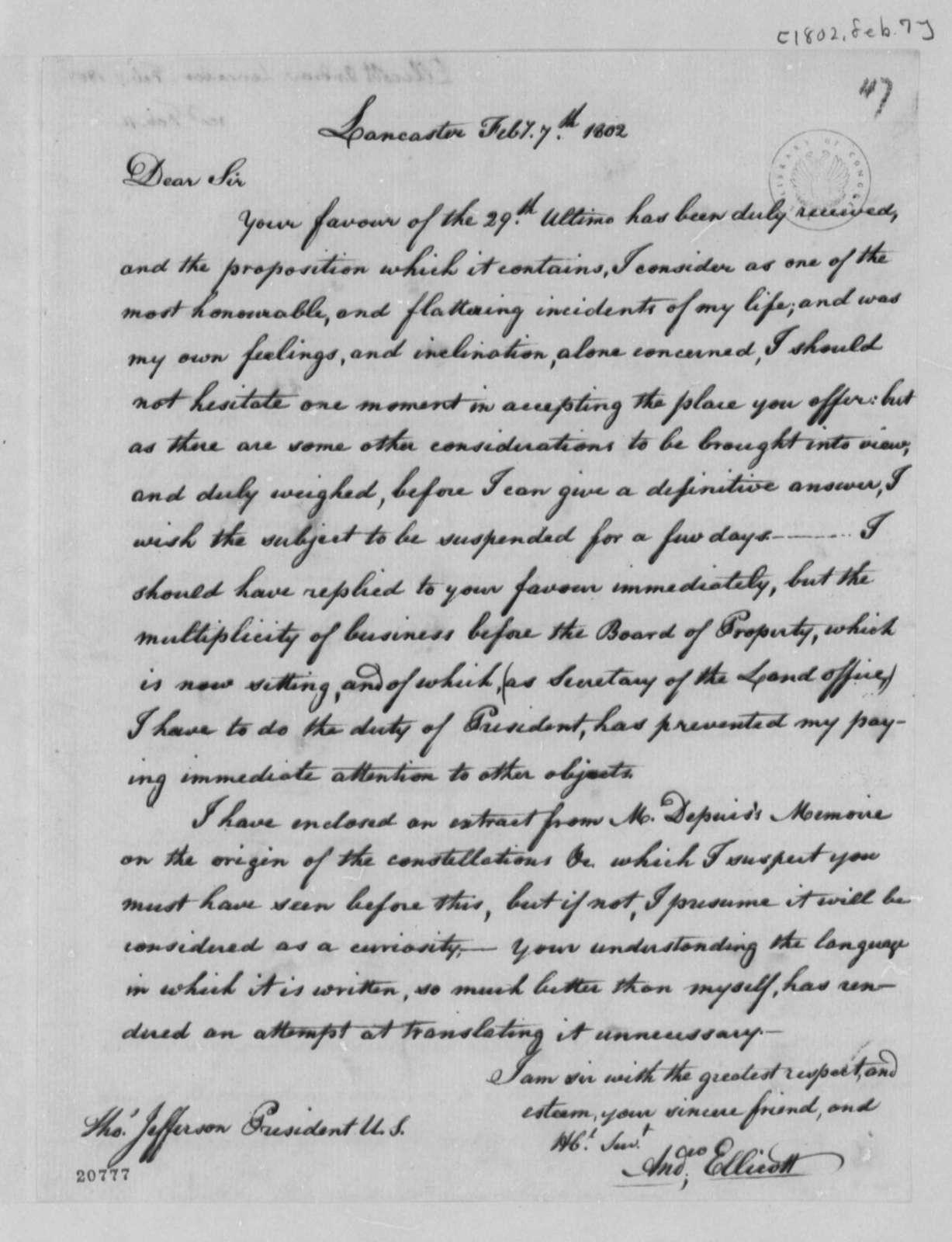Andrew Ellicott to Thomas Jefferson, February 7, 1802