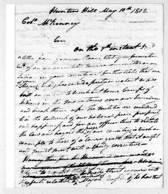 Andrew Jackson to Henry McKinney, May 10, 1802