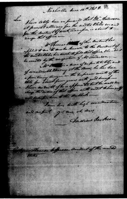Andrew Jackson to T. Jefferson, June 16, 1802
