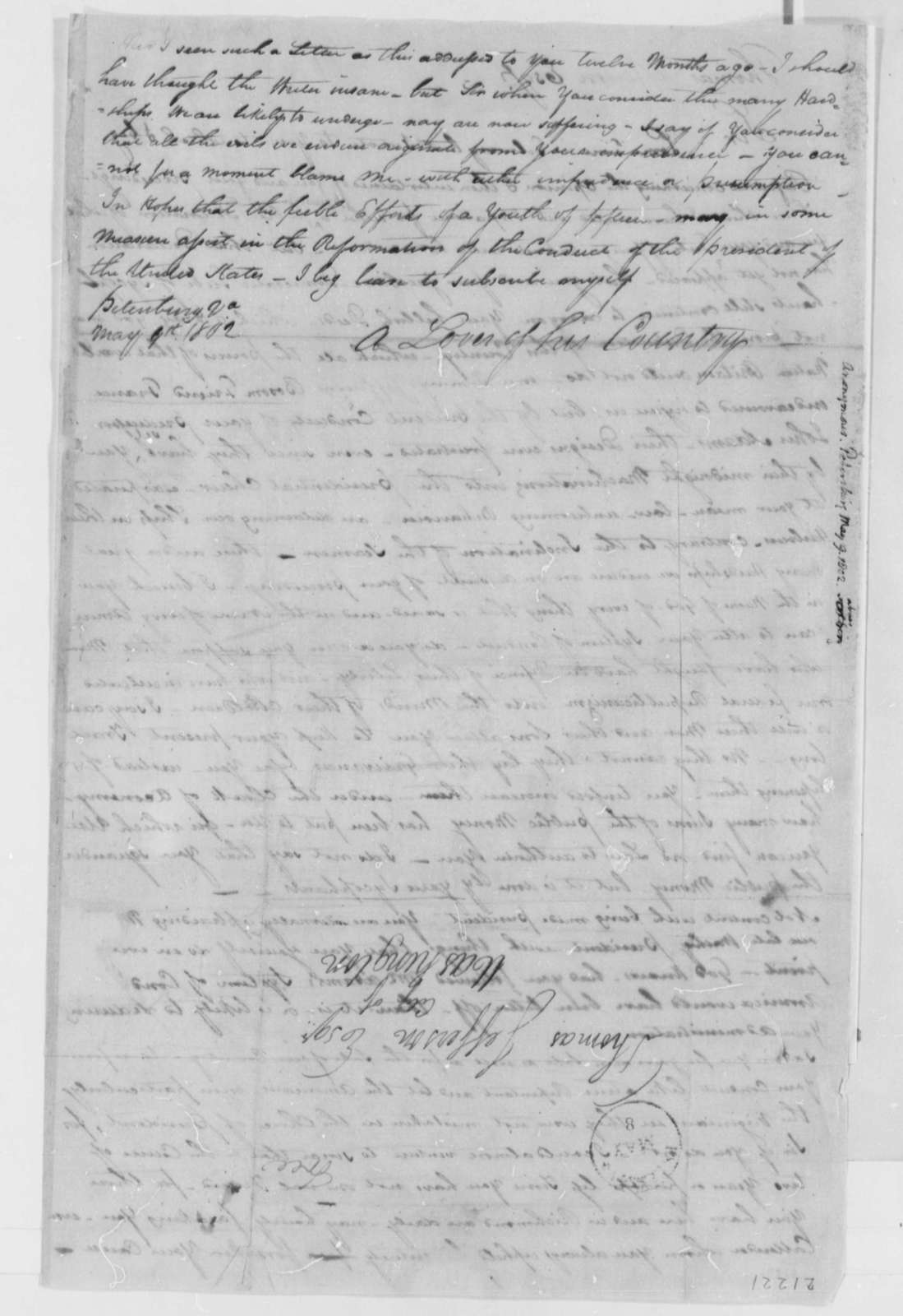 Anonymous, May 9, 1802, Signed, A Lover of His Country