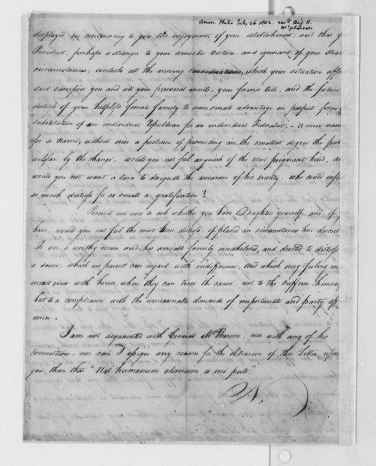 Anonymous to Thomas Jefferson, July 26, 1802