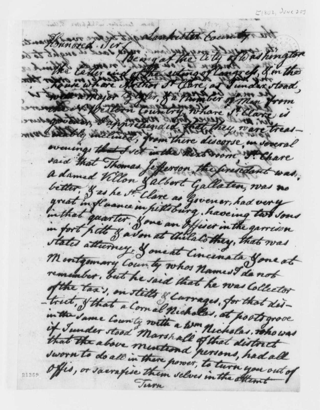 Anonymous to Thomas Jefferson, June 20, 1802