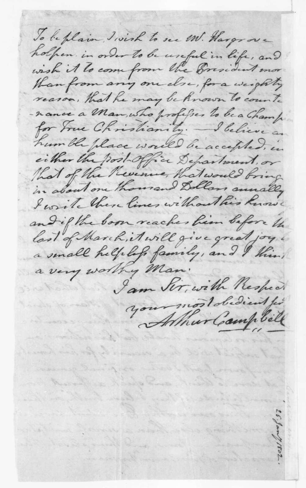 Arthur Campbell to James Madison, January 25, 1802.