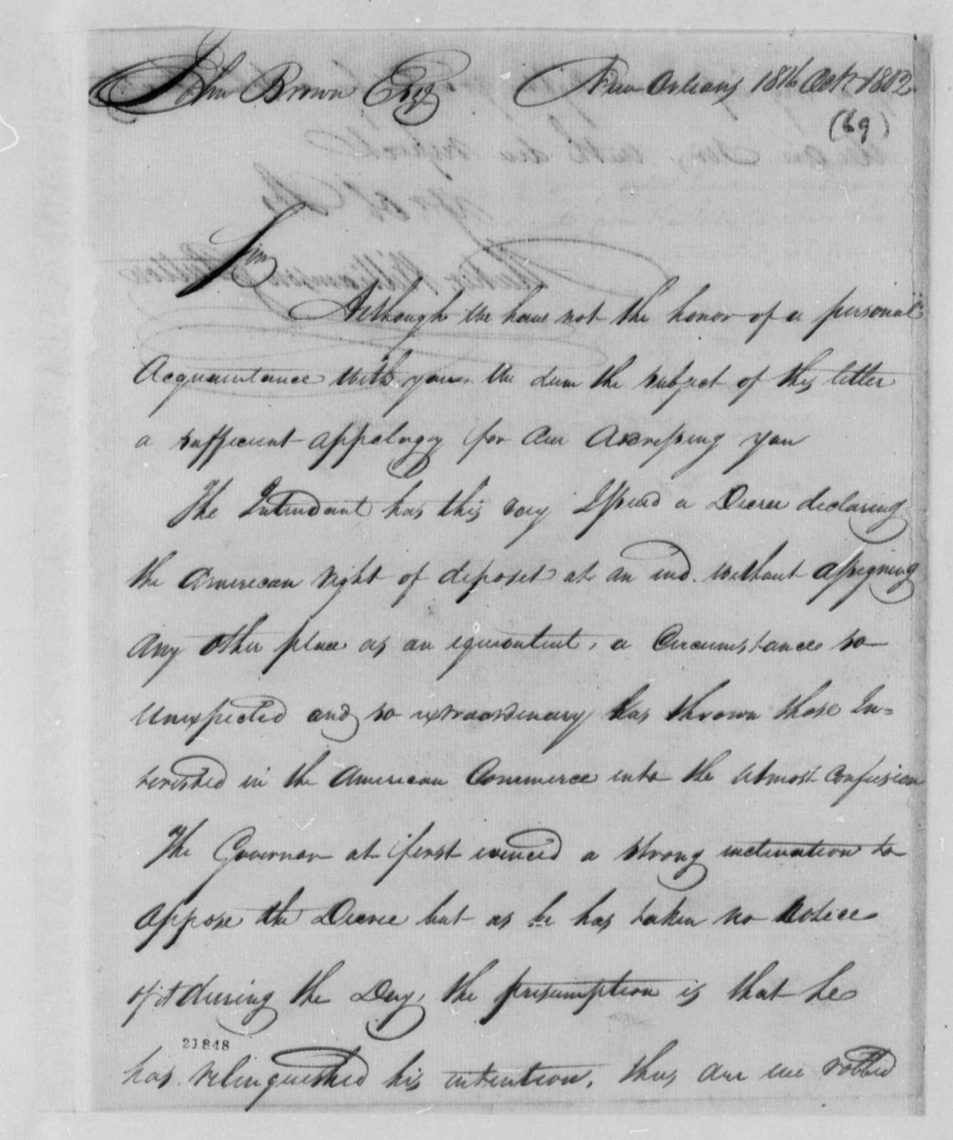 Baker-Williamson to John Brown, October 18, 1802