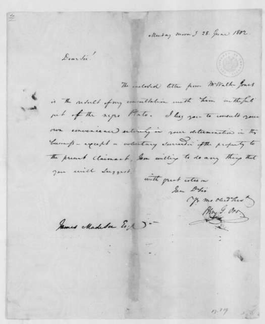 Benjamin Grayson Orr to James Madison, June 28, 1802.