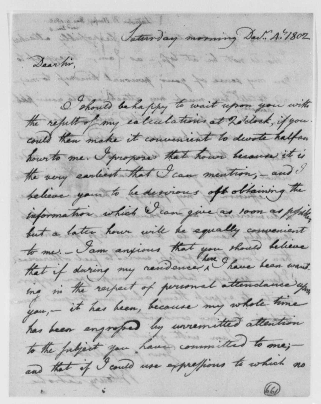 Benjamin H. Latrobe, Surveyor of the Public Buildings to Thomas Jefferson, December 4, 1802