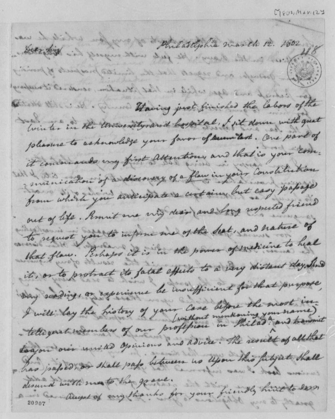 Benjamin Rush to Thomas Jefferson, March 12, 1802