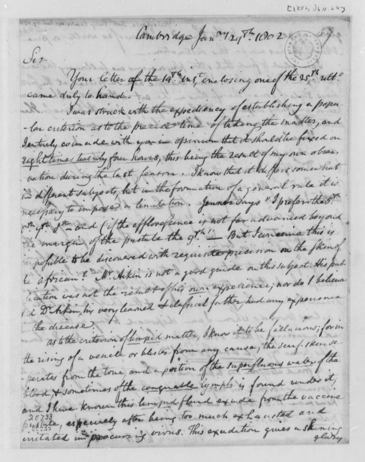 Benjamin Waterhouse to Thomas Jefferson, January 29, 1802