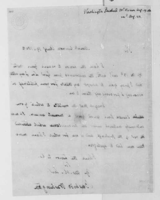Bushrod Washington to Thomas Jefferson, August 19, 1802