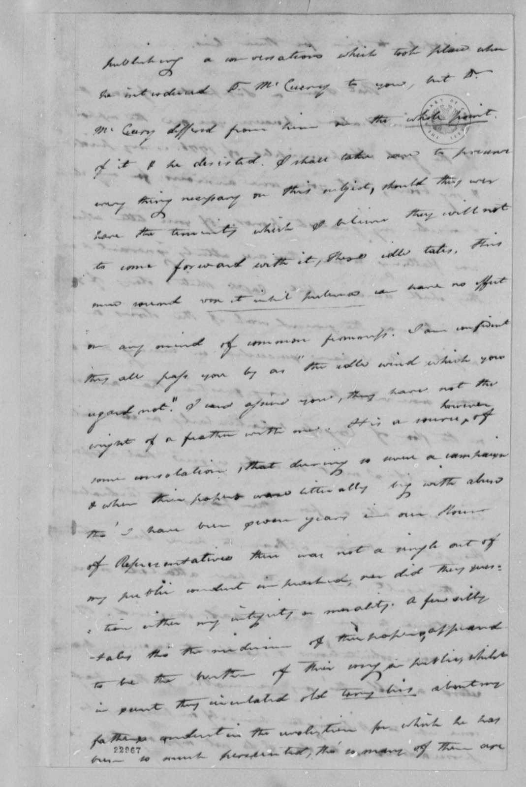 Caesar A. Rodney to Thomas Jefferson, 1802, Received November 4, 1802