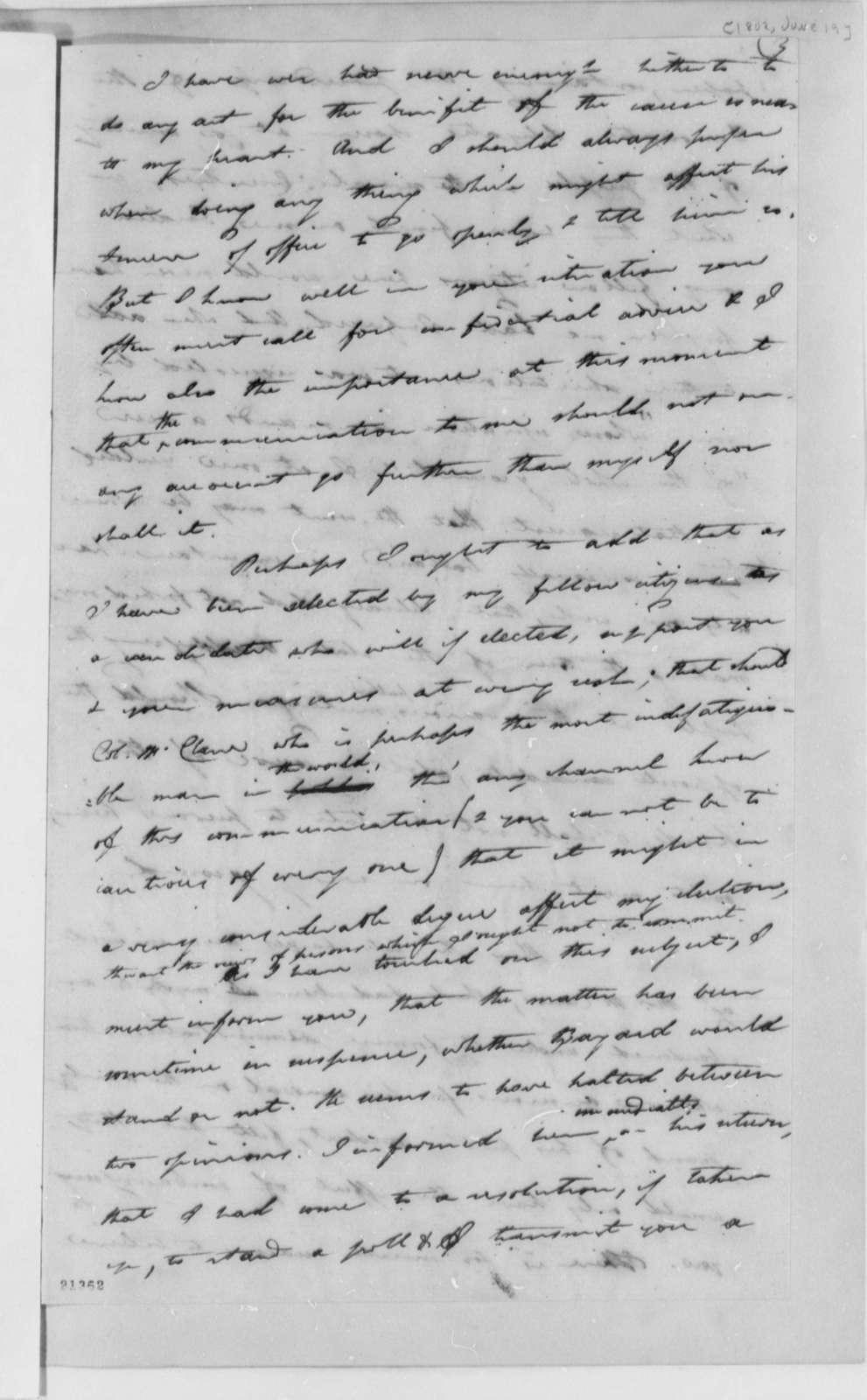 Caesar A. Rodney to Thomas Jefferson, June 19, 1802