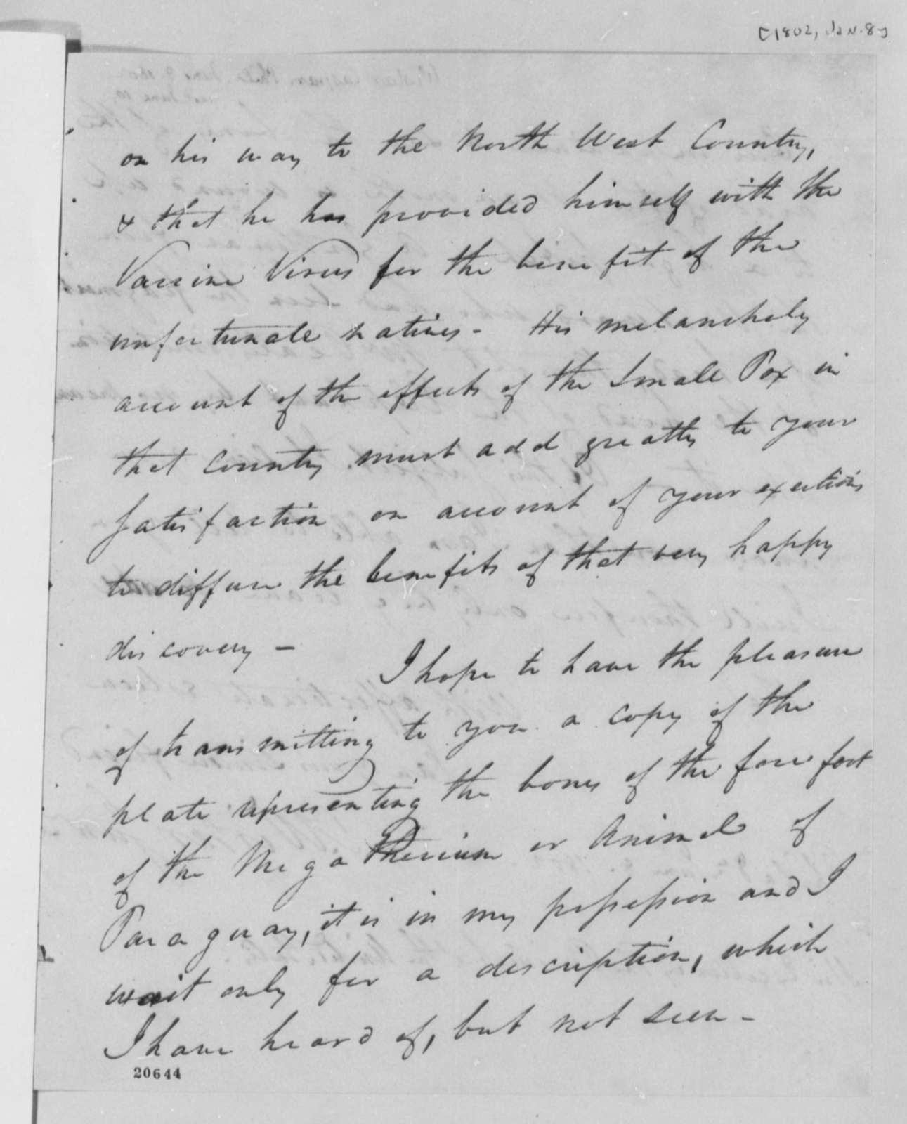 Caspar Wistar to Thomas Jefferson, January 8, 1802