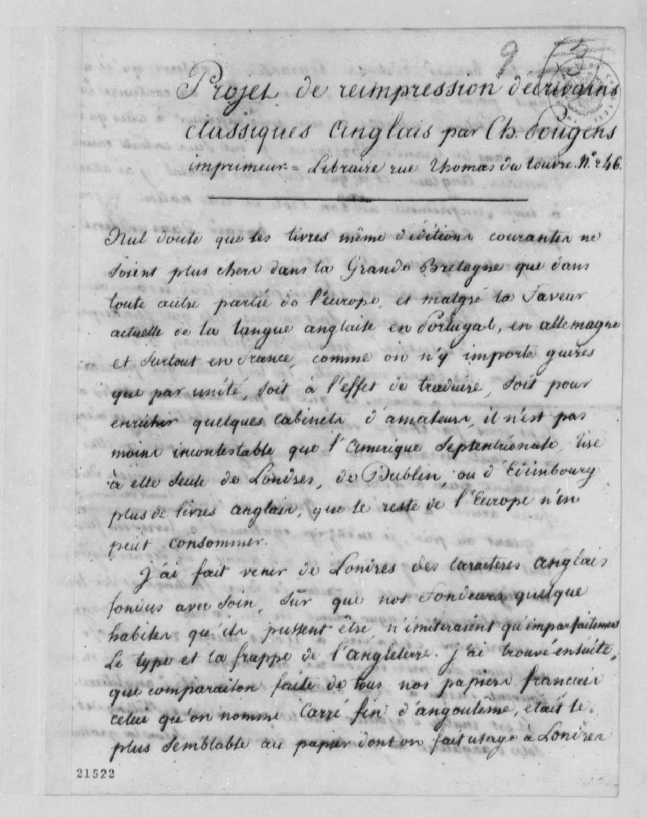Charles de Pougens to Thaddeus Kosciuszko, July 28, 1802, in French and with Proposal
