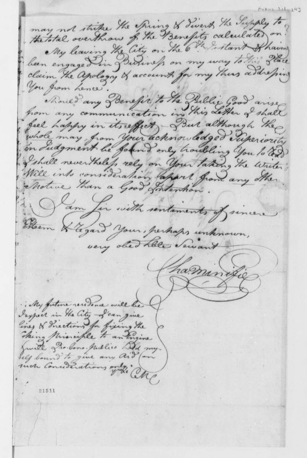 Charles Minifie to Thomas Jefferson, July 24, 1802